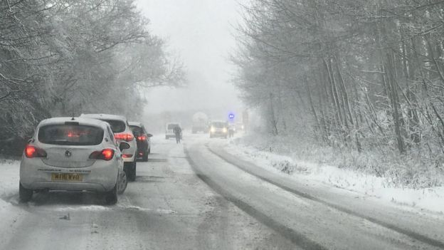Traffic on the snow-hit A339 near Basingstoke