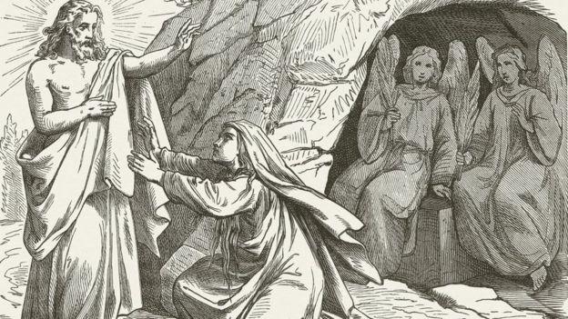 Ilustración de Jesús resucitado apareciendo ante María Magdalena.