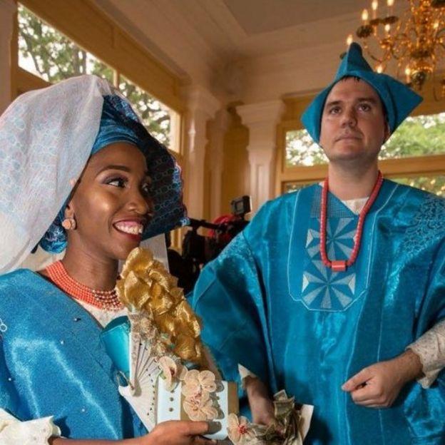 Michael y Kehinde Brown, el día de su boda.