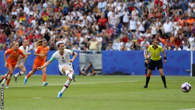 Megan Rapinoe scores from the penalty spot