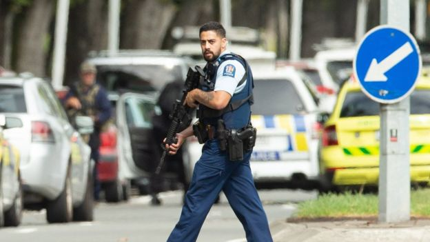 Armed police patrol following a shooting resulting in multiply fatalies and injuries at the Masjid Al Noor o­n Deans Avenue in Christchurch, New Zealand, 15 March 2019.