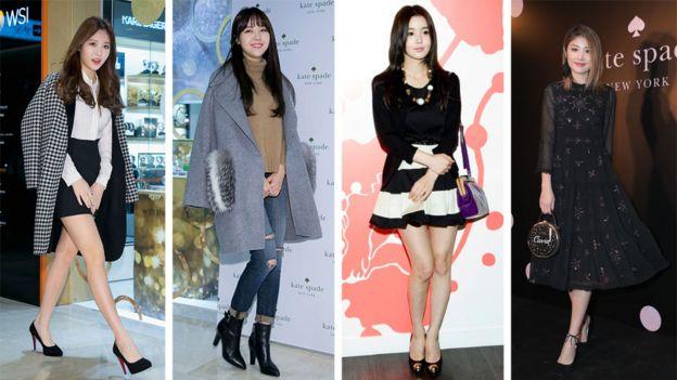 از چپ؛ یورا، خواننده معروف کره جنوبی و بنگ مین-آ از گروه دختران روز؛ نام گیو-ری، هنرپیشه کرهای و کلی چن، خواننده هنگکنگی که همگی محصولات کیت اسپید را بر تن دارند
