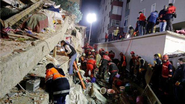 Rescuers search the rubble in Istanbul, 6 February