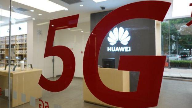 Huawei's store in Beijing advertising 5G