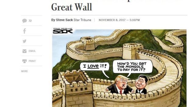 卡通圖片顯示特朗普在長城上對習近平說,