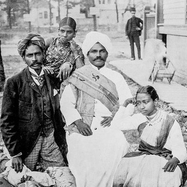 Antique photograph of group of Singhalese