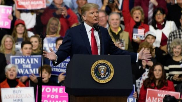 Donald Trump habló en un acto partidario el sábado en Pensilvania, Estados Unidos.
