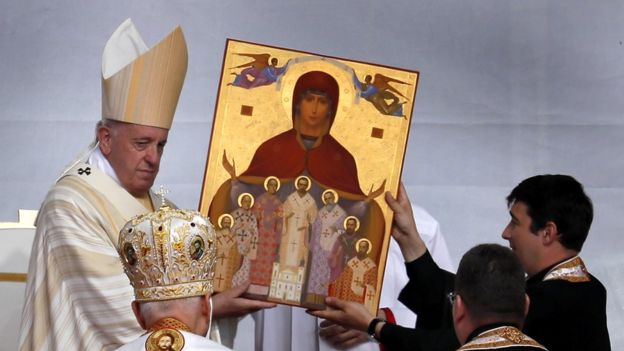 Pope Francis beatifies seven Greco-Catholic bishops at a ceremony in Romania