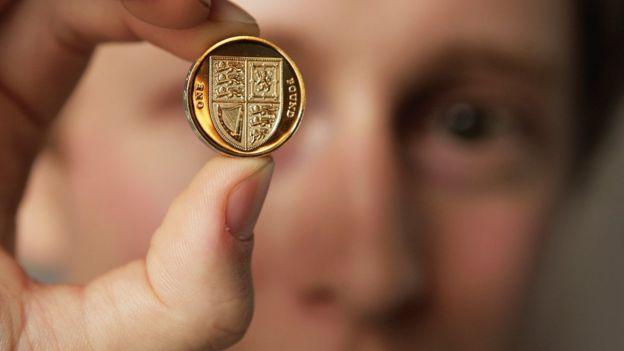 Pound coin in hand