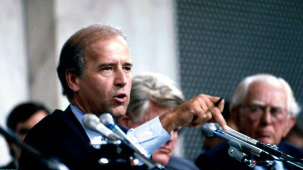 Joe Biden at the confirmation hearing of Clarence Thomas
