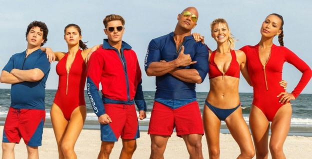 Zac Efron and Dwayne Johnson with other members of the Baywatch cast