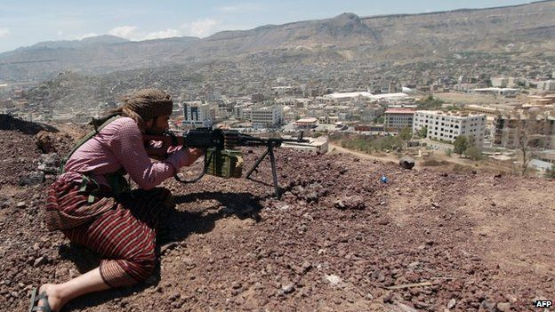 Houthi fighter holds a position in the Yemeni capital Sanaa