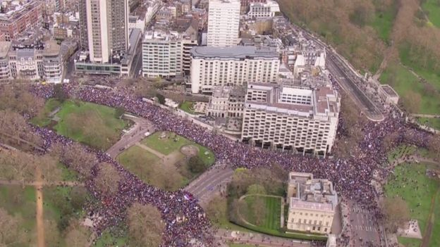 Aerial view of the march.