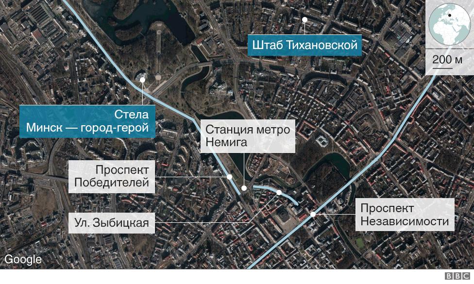 Протесты в Минске, карта