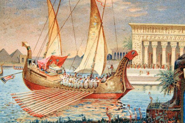 Imagen del 1900 que imagina la galera de Cleopatra