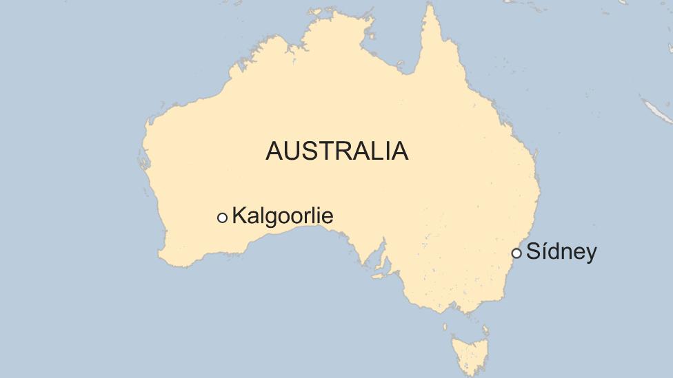 Mapa Kalgoorlie, Australia.