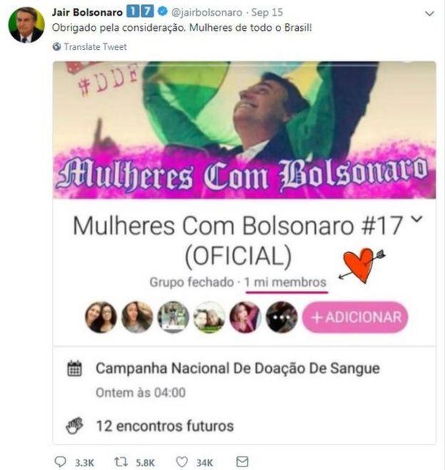 Uma captura de tela da conta do Twitter de Bolsonaro agradecendo a página hackeada por seu apoio