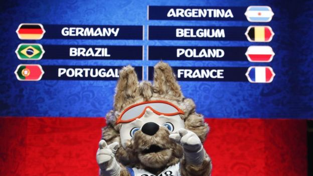 Zabivaka, the official mascot for the 2018 FIFA World Cup Russia, takes part in the