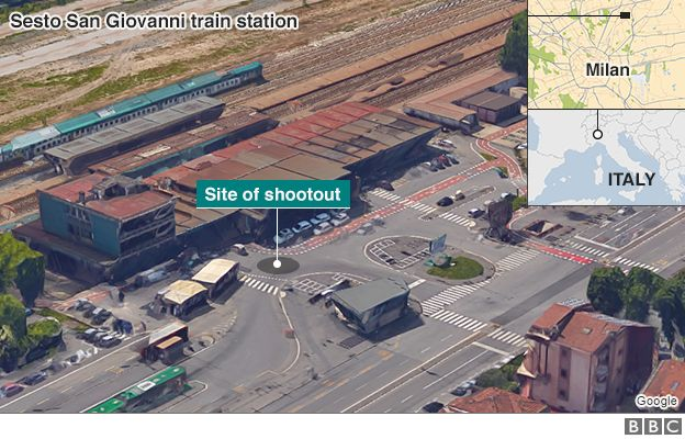 Graphic showing location of shootout