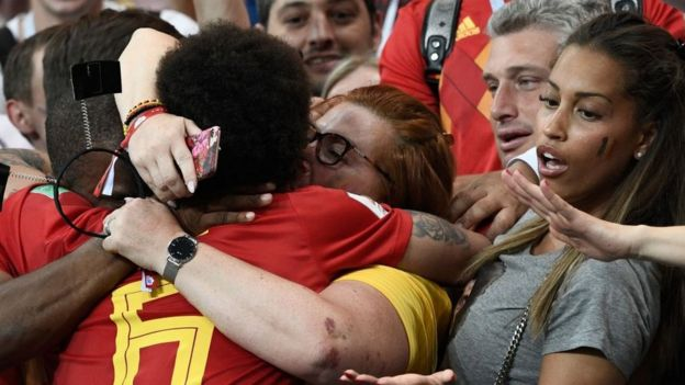Belgium midfielder Alex Witsel celebrates with the crowd Belgium's victory over Japan