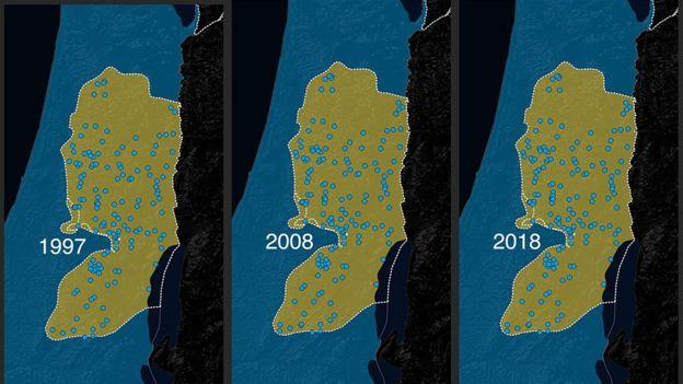 المستوطنات الإسرائيلية ونموها في الضفة الغربية بين عامي 1997 و 2018.