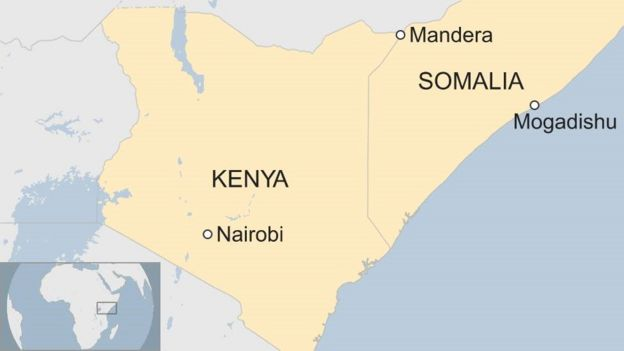Map showing location of Mandera