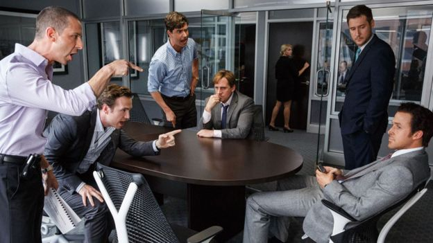 Jeremy Strong, Rafe Spall, Hamish Linklater, Steve Carell, Jeffry Griffin and Ryan Gosling in The Big Short