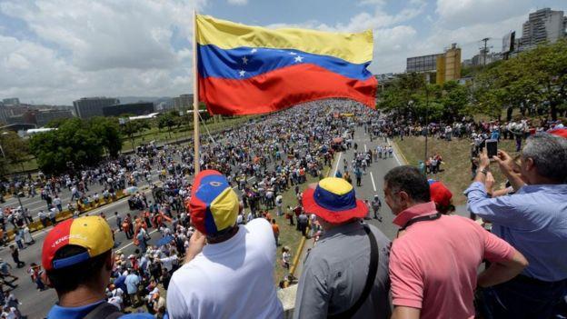 Una manifestación en Caracas