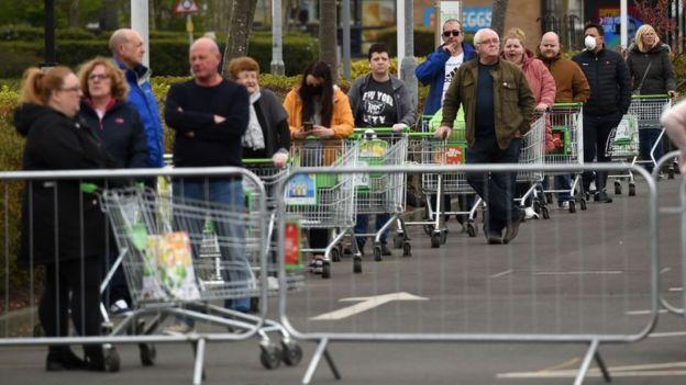 Asda shoppers queuing