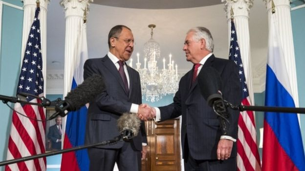 The Russian Foreign Minister Sergey Lavrov is met by the US Secretary of State Rex Tillerson. Mr Lavrov later met with President Trump at the White House.