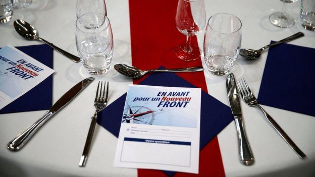 Leaflets for Marine Le Pen's National Front campaign
