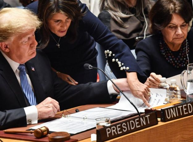 Mr Trump and Mrs Haley appeared together at the UN General Assembly last month