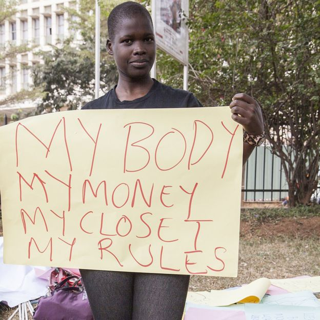 Protester demonstrating against the Anti-Pornography Act's dress code banning miniskirts (2014)