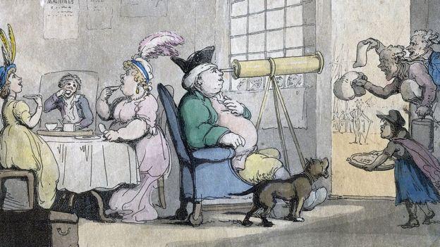 Un homme corpulent regardant à travers un télescope, XIXe siècle