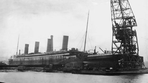 The Titanic in dry dock at the Harland and Wolff shipyard, Belfast, February 1912