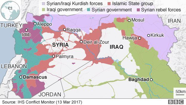 Map showing control of Iraq and Syria (13 March 2017)
