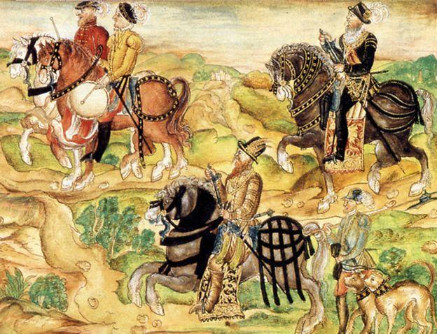 Un dibujo de 1560 que muestra a von Hutten (centro) y a su antecesor, von Speyer (derecha).