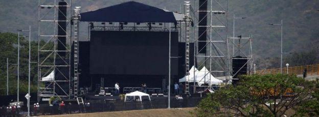 "The ""Venezuela Aid Live"" stage at Tienditas, 21 February"