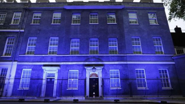 10 Downing Street lit up blue