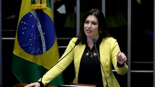 Simone Tebet em 2016 durante o processo de impeachment