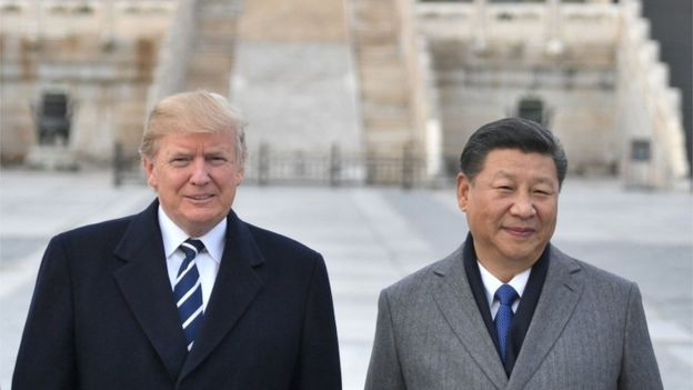 US President Donald Trump, and Chinese President Xi Jinping pose at the Forbidden City in Beijing
