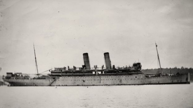 The HMS Otranto was carrying US troops across the Atlantic when disaster struck