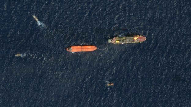 A satellite image shows Guyana's first-ever crude loadings on February 4