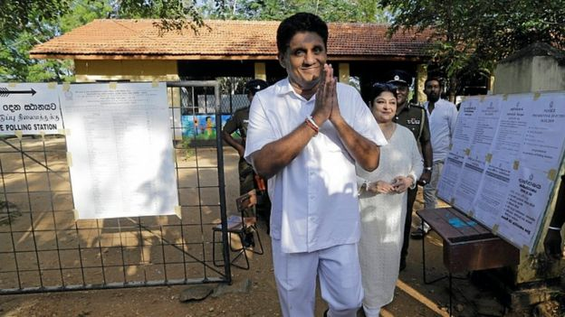 Sajith Premadasa leaves after casting his vote during the presidential election in Weerawila, Sri Lanka November 16, 2019