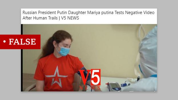 """A post claiming that the woman in the video getting the Russian-made vaccine is Putin's daughter. We labelled this """"false"""""""