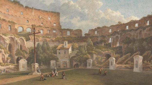 Work of John Warwick Smith showing the appearance of the Roman Colosseum at the beginning of the 19th century.