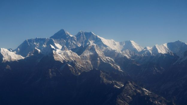 Mount Everest and other peaks of the Himalayan range