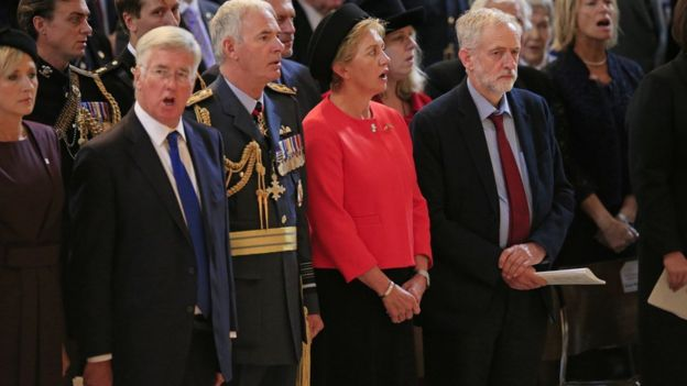 Jeremy Corbyn (right) stands in silence as the national anthem is sung during a service at St Paul's Cathedral on 15 September to mark the 75th anniversary of the Battle of Britain