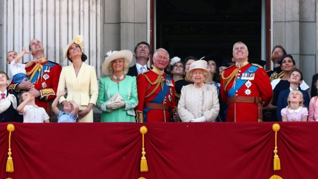 The Queen and other family members gathered to witness the Red Arrows perform a flypast