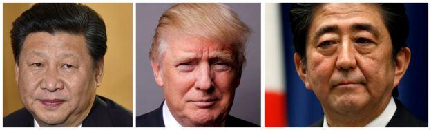 特朗普總統在前往德國出席二十國集團漢堡峰會之前分別與中國國家主席習近平和日本首相安倍晉三通了電話